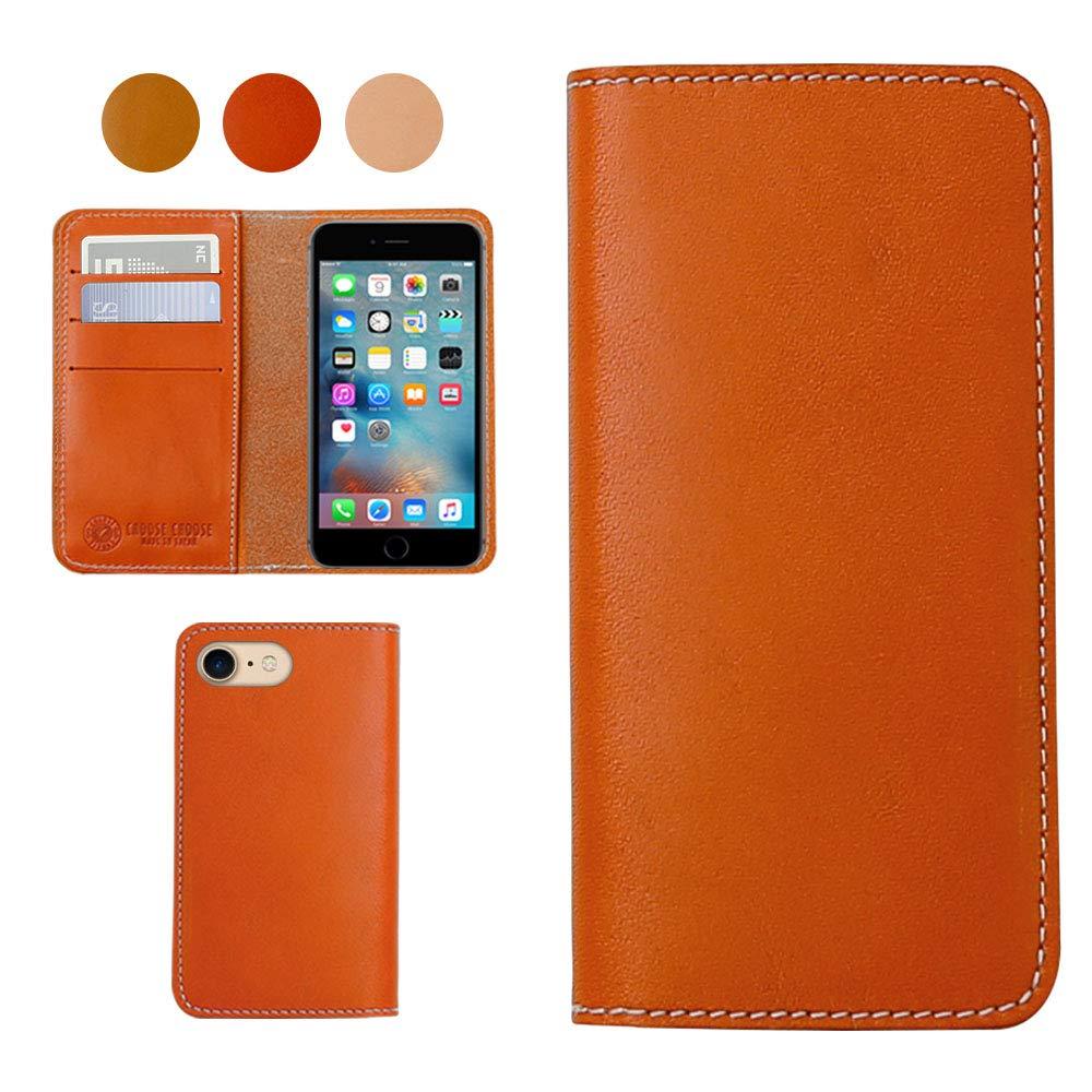 iPhone 7Plus iPhone 8Plus栃木エイジングレザースマートフォンケース、日本製マルチカードスロット、ウォレットケース - ダークオレンジ   B07GKLD7KN