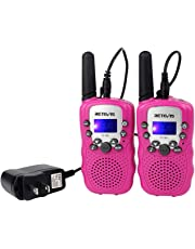 Retevis RT-388 Kids Walkie Talkie Rechargeable FRS Toy Gift 22 Channel Walkie Talkie for Kids (Pink,1 Pair)