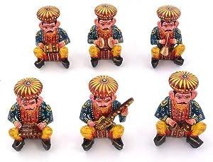 Bristol Art Ethnic Home Decor Handicrafts Items - Rajasthani 6 Piece Musician Bawla Set in Wood