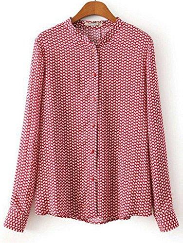 あいまいドーム悩み(深セン アイビー詩) SZIVYSHI 女性シャツ葉印刷ボタン閉鎖スタンド カラー長袖ブラウス