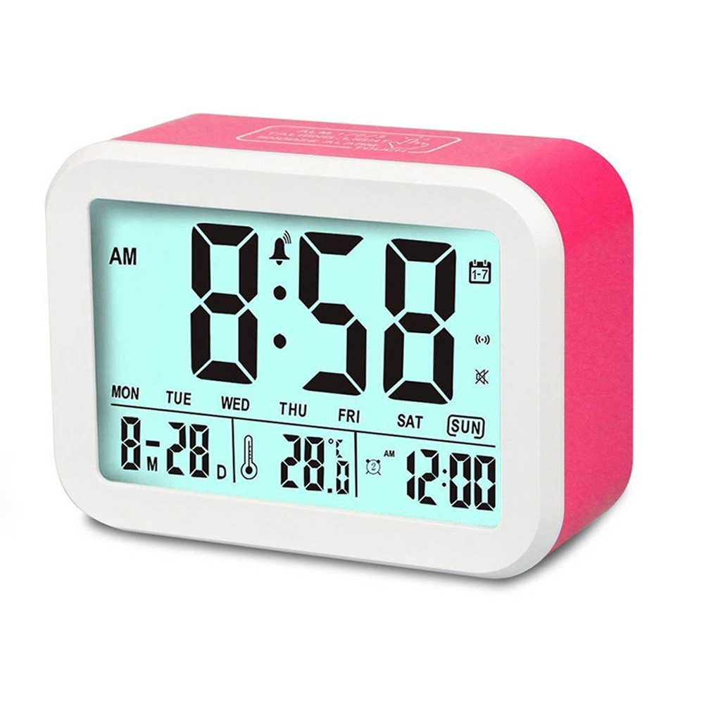 Digital Alarm Clock, MONYAN Electronic Talking Alarm Clocks for Kids,Teens and Heavy Sleepers, 4.5'' Big Display,Smart Backlight,Battery Operated, Snooze Mode,3 Alarms, 7 Rings-Pink