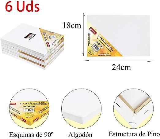 Pack de 6 lienzos 18 x 24 cm de 100% algodón apto para óleo ...
