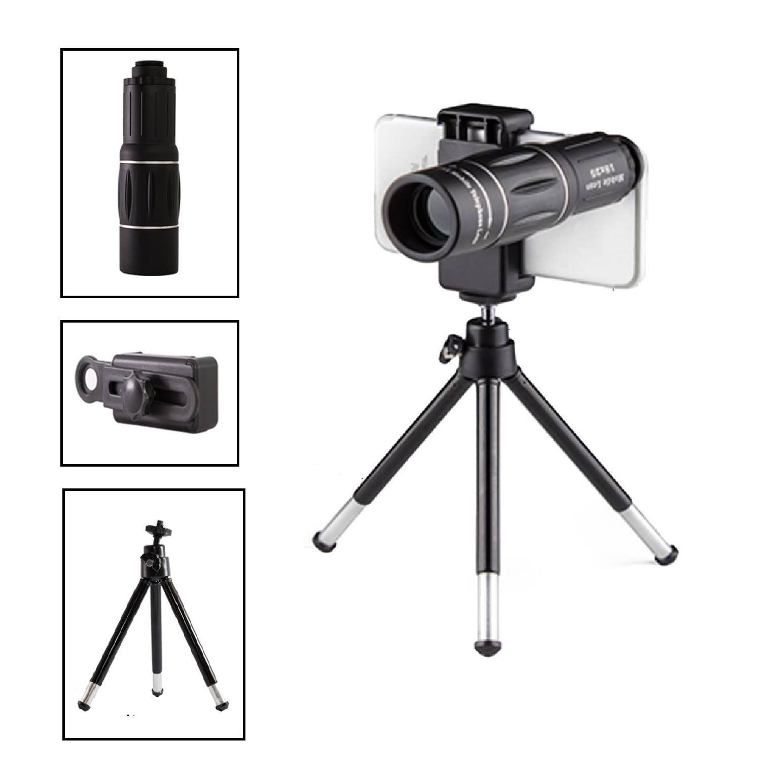 18X Smartphone Camera Lens Kit | Perfect for Capturing Distance Objects | Includes Mini Tripod, Universal Telephoto Lens Clip-On | Compatible with IOS & Android Smartphones