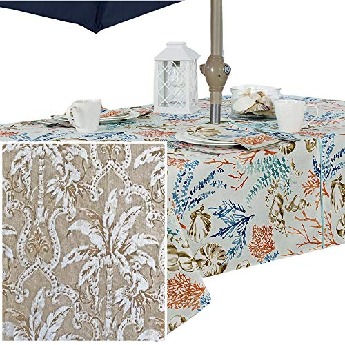 - Newbridge Rafiki Natural Tropical Monkey Print Indoor/Outdoor Fabric Tablecloth - Taupe Monkey Palm Tree Jungle Picnic, BBQ, and Patio Fabric Tablecloth, 60 X 84 Oblong Zippered Umbrella Tablecloth
