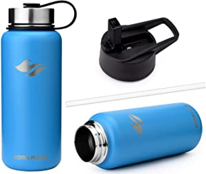 EOMA - Wide Mouth Water Bottle - Double Stainless Steel Vacuum Insulated Bottle - Sweat Proof Fingerprint Proof - Sports Travel Home Office - Keeps Liquid Hot 12 Hours Cold 24 Hours