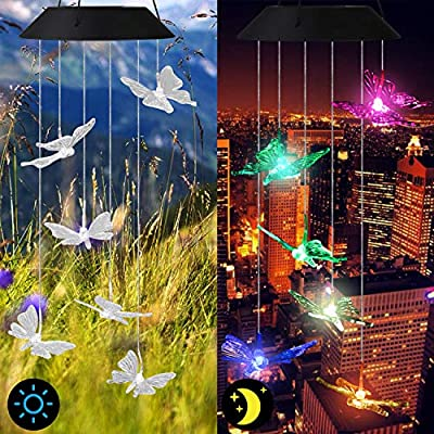 Linkstyle Solar Power Wind Chime, Color-Changing Led Butterfly Wind Chime Waterproof Outdoor Decorative Automatic Wind Bell Light for Patio Yard Garden Home