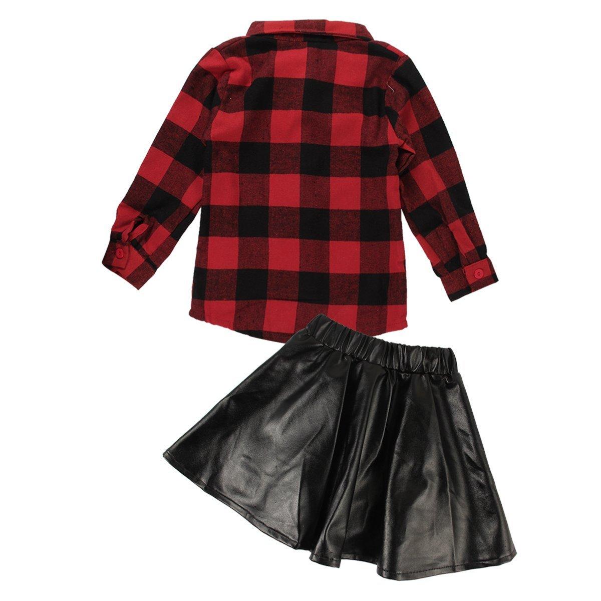 Amazon 2pcs Toddler Kids Baby Girls Plaid Shirtleather Skirt