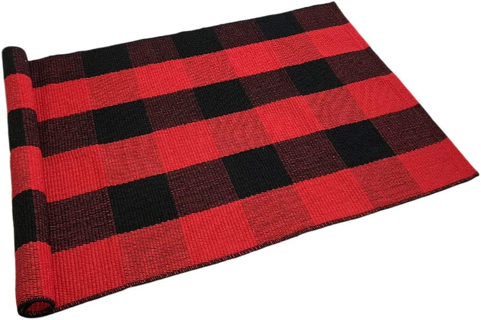 Levinis Cotton Buffalo Plaid Rugs- Red&Black Machine Washable Buffalo Check Area Rug for Kitchen/Bath Room/Outdoor/Indoor Front Porch Decor Farmhouse Decor, 23.6''x51.2''