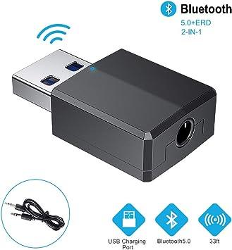 RAYROW Adaptador Bluetooth,Transceptor de Audio inalámbrico y Receptor Transmisor 2 en 1 5.0 con Cable Auxiliar Digital de 3.5 mm para PC/TV/ Auriculares/Altavoces/Radio/Reproductor de CD Auriculares: Amazon.es: Electrónica