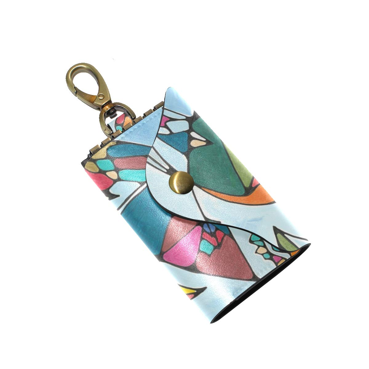 KEAKIA Watermark Kite Leather Key Case Wallets Tri-fold Key Holder Keychains with 6 Hooks 2 Slot Snap Closure for Men Women
