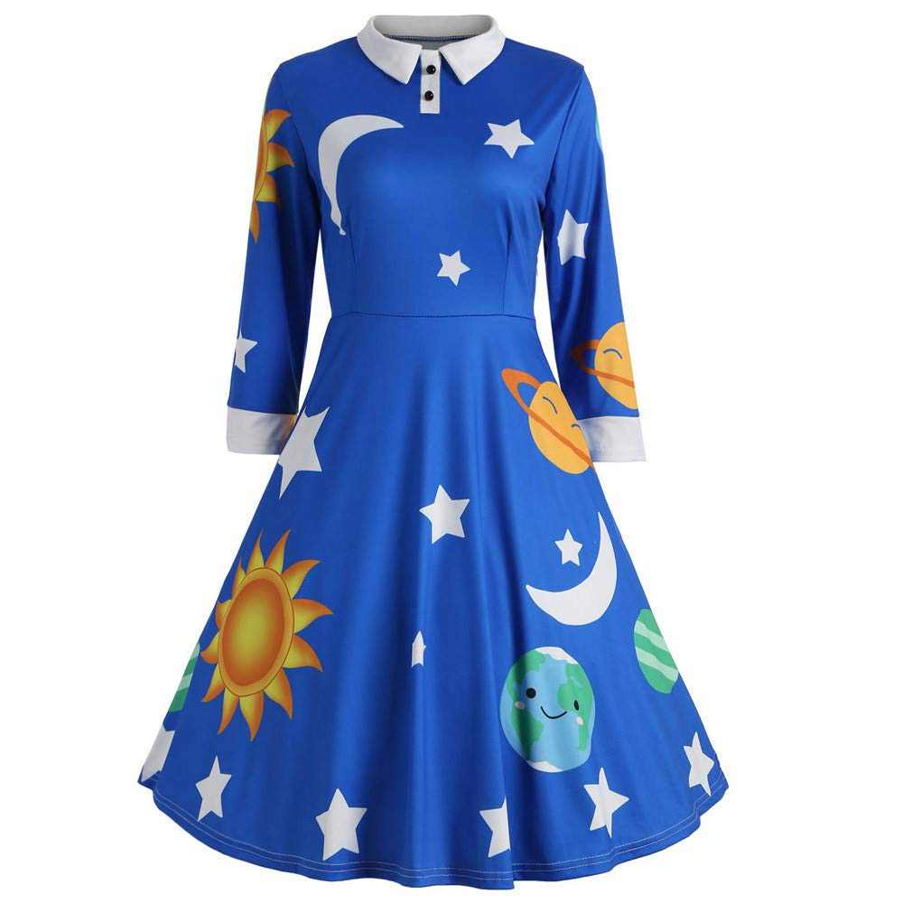 Veepola Long Sleeve Botton Lapel Sun Moon Star Print Flare Vintage Dress Skirt