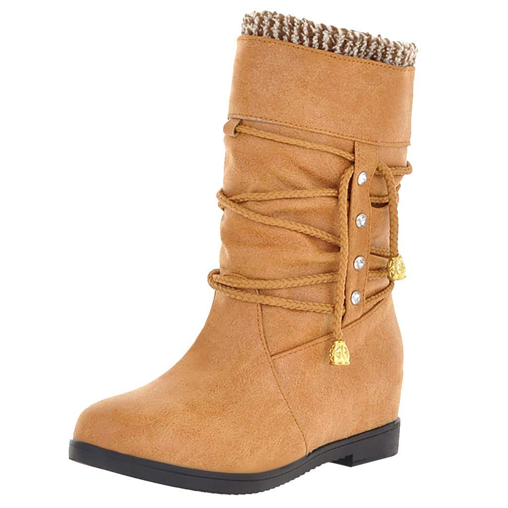 Dermanony Womens Increase Within Boot Outdoor Warm Mid Calf Waterproof Durable Boot Casual Middle Tube Large Size Boots Yellow by Dermanony _Shoes