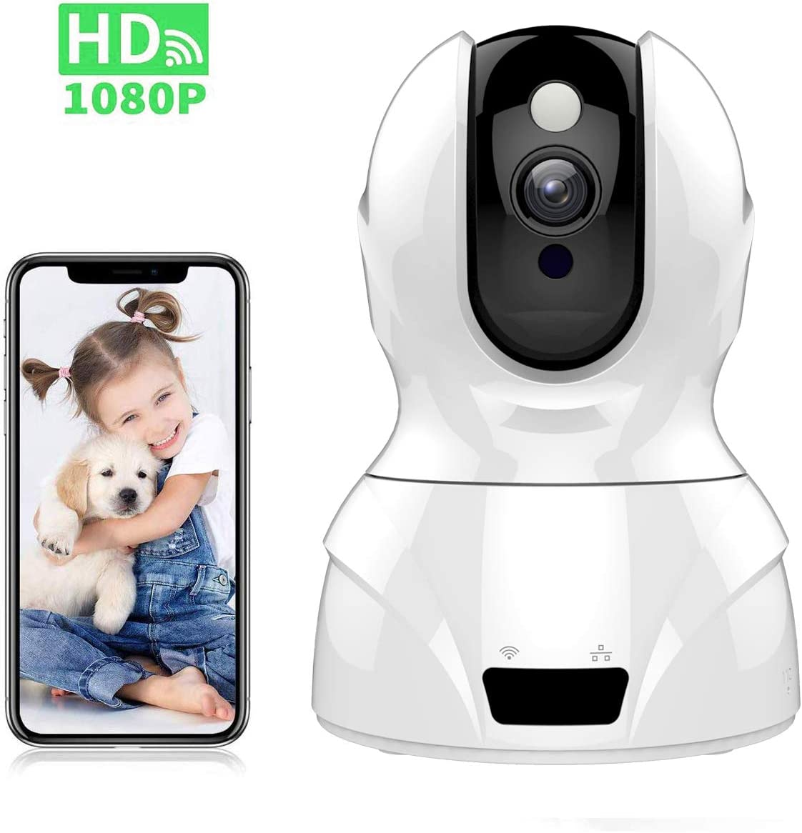 Tovendor 1080P Indoor Video Camera, Smart Home Security Camera with IR Night Vision, 2 Way Talk, Motion Tracking for Pet Dog Baby Elder