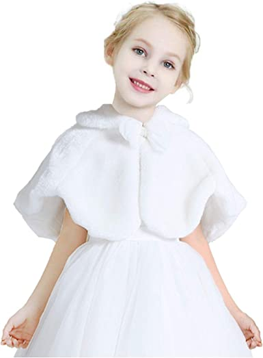 ACSUSS Little Big Girls Wedding Bridesmaid Faux Fur Shawl Wraps Bolero Flower Dress Cover Up