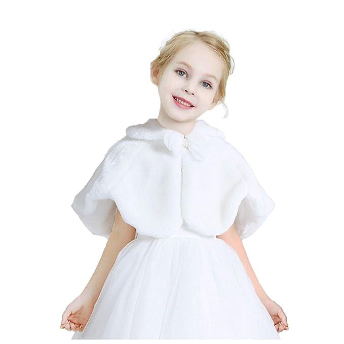 8fd7c45e9 Amazon.com  EdenShow Flower Girls Faux Fur Cape Bolero Kids Fur ...