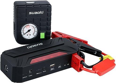 Suaoki T3 Plus - Arrancador de Coche 600A, Jump Starter 18000mAh con Mini Compresor de Aire (USB puertos 12V/16V/19V, linterna LED, PowerBank): Amazon.es: Coche y moto
