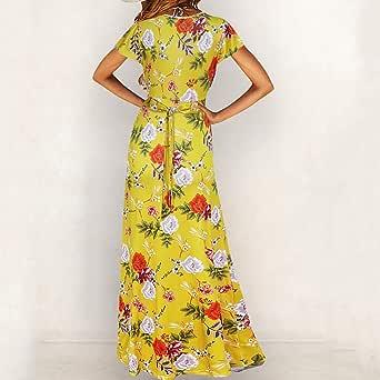 VEMOW Vestido de Mujer Bohemio Largo Verano con Cuello de Pico y ...