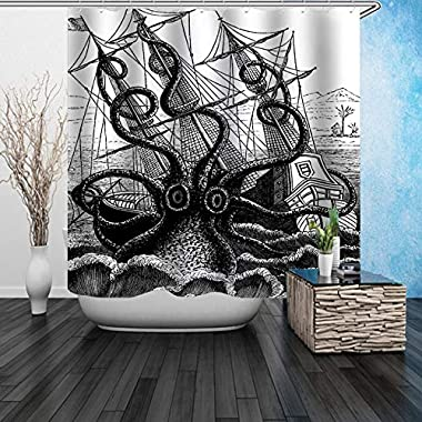 Youdepot Shower Curtain Sail Boat Waves Octopus Old Look Home Textile European Style Bathroom Decoration Decor Peculiar Design Hand Drawing Effect Fabric Shower Curtains