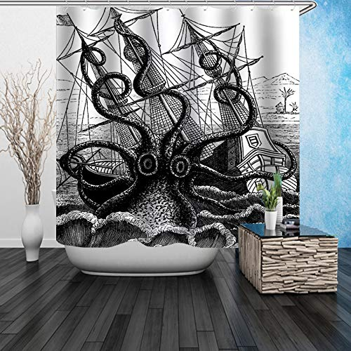 Youdepot Shower Curtain Sail Boat Waves Octopus Old Look Home Textile European Style Bathroom Decoration Decor Peculiar Design Hand Drawing Effect Fabric Shower Curtains ()