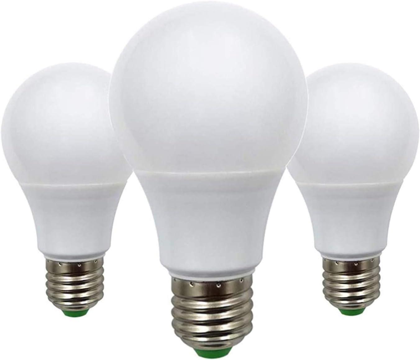 Bombilla LED Edison de 5 W, E27, 50 W, equivalente a A60 ES Globe, E26 E27, base de 12 V, bajo voltaje, ideal para iluminación solar de rejilla, barco, caravana, blanco cálido, 2700 K, paquete de 3
