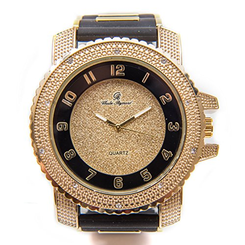 (Bling-ed Out Men's Hip Hop Gold Tone Black Rubber Bullet Band Timepiece - 7758R Gold)