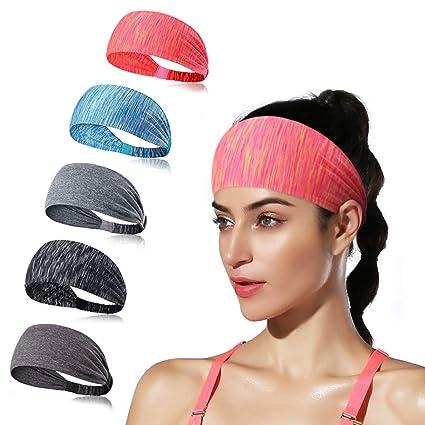 b0fe5e0b84a0 DINIGOFIN Wide Workout Sports Headbands Non Slip Lightweight Elastic Yoga  Fitness Headband for Running Athletic fits