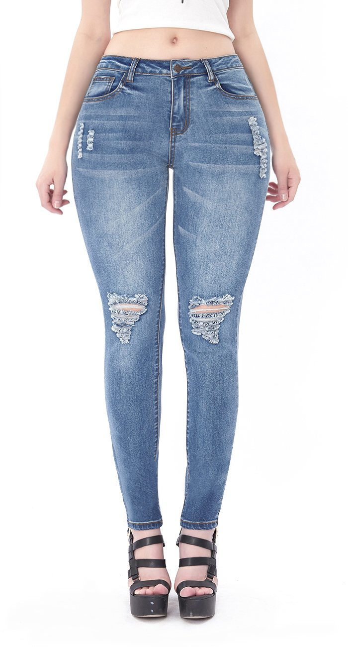 VICVIK Womens Blue Distressed Ripped Skinny Stretch Jeans Butt Lift Super Comfy Denim Pants (Dark Blue, 11)
