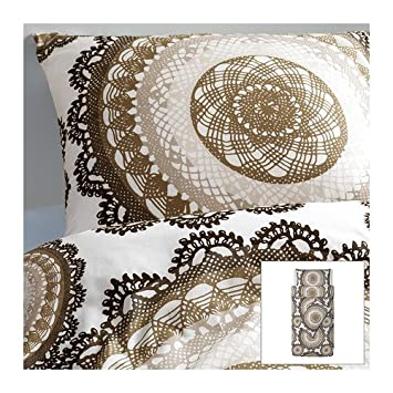 Ikea Lyckoax Bettbezug Und 2 Kissenbezüge Weiß Braun 150x200