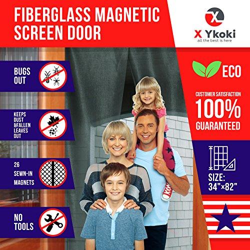 MAGNETIC SCREEN DOOR – Screen Door Curtain with Magnets New 2018 Bug Screen Fits Door Size up to 34''-82'' Instant Retractable Magnetic Curtain Front Patio Doors Heavy Duty Fiberglass Mesh by X Ykoki