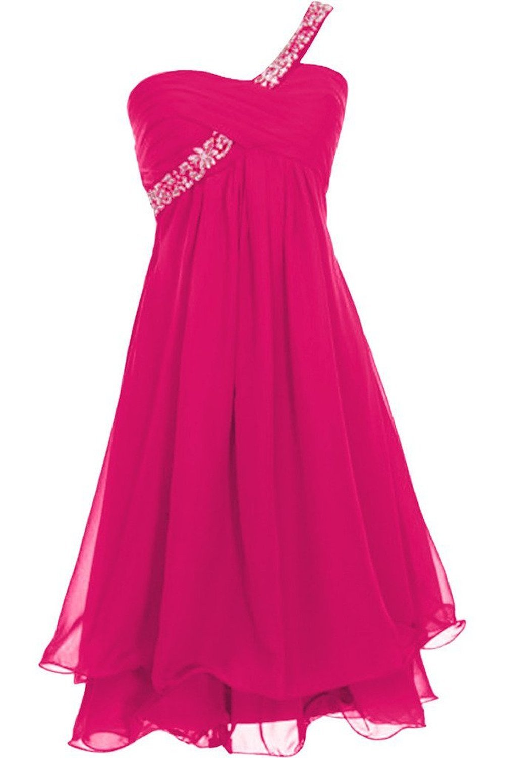 CoutureBridal One Shoulder Bridesmaid Dress,Chiffon Cocktail Dress Magenta-US14