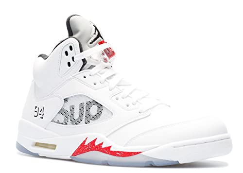 5e48e88e3cf Amazon.com   Air Jordan 5 Retro Supreme 'Supreme' - 824371-101 - Size 10.5  White, Black-Varsity Red   Basketball