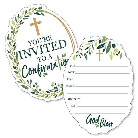 Confirmación Elegante Cruz Invitaciones Rellenables