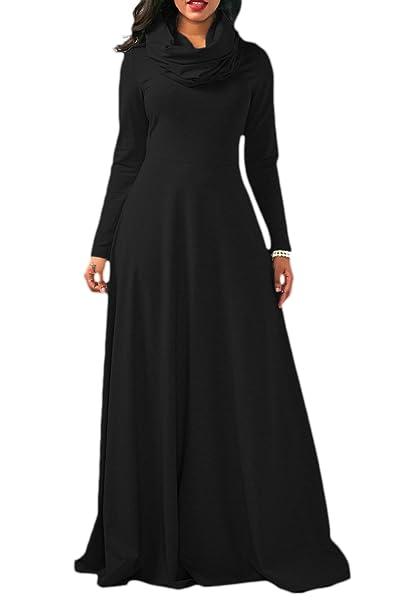 262af23231de Yacun Women Casual Long Sleeve Cowl Neck Long Maxi Winter Swing Dress Black  S