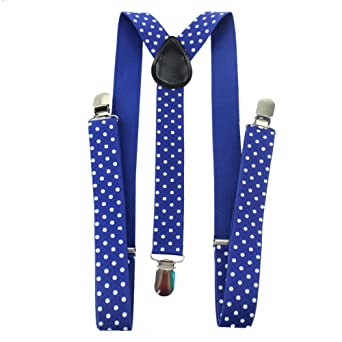 One Size Black Polka Dot Braces HBF Durable Trouser Braces Polka dot Print Unisex Men and Women Suspenders Braces and Bow Tie Set Clip On Y Shape Adjustable Braces