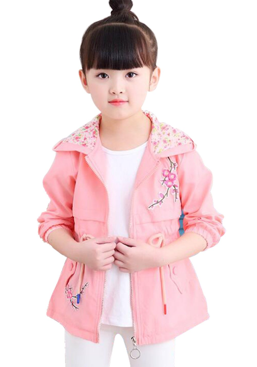 UNIQUEONE Kids Baby Girls Cute Floral Hoodies Windbreaker Spring Fall Trench Wind Jacket Outerwear Size 7-8Years/Tag130 (Pink)
