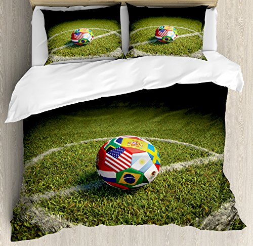 Ambesonne Sports Decor Duvet Cover Set King Size, A Soccer Ball on a Soccer Field Printed Flags of the Participating Countries, Decorative 3 Piece Bedding Set with 2 Pillow Shams by Ambesonne