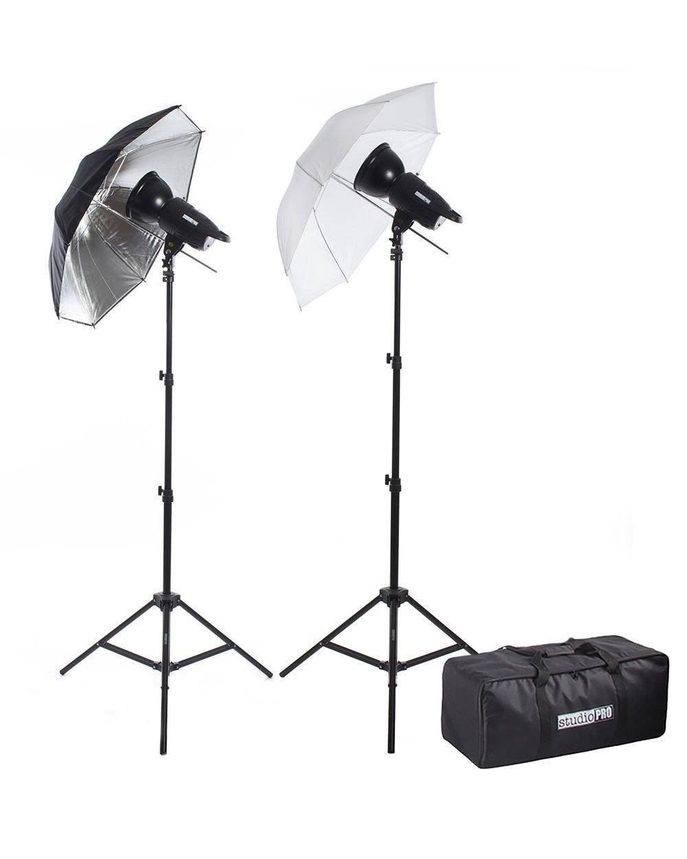 Fovitec StudioPRO 200W/s Two Strobe Monolight 33'' Umbrella Photo Kit & Carrying Case by Fovitec