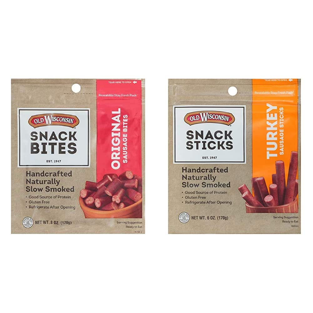 Old Wisconsin Snack Sticks, Original, 8-Ounce Package & Turkey Sausage Snack Sticks, Naturally Smoked, Ready to Eat, High Protein, Low Carb, Keto, Gluten Free, 6 Ounce Resealable Package