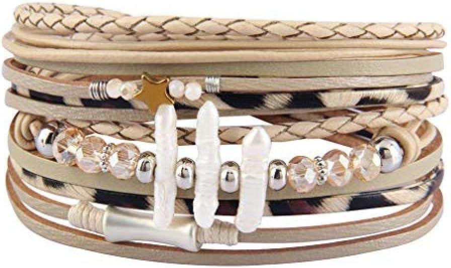 CHEMOXING Pulsera de Cuero para Mujer Tree of Life - Joyas de Perlas clásicas Retro para niña - Pulseras de Cuerda Boho