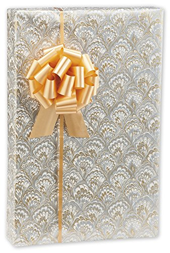 Gold & Silver Feathers Jeweler's Roll Gift Wrap, 7 3/8x100 (1 roll) - (Gold Stock Jewelers)