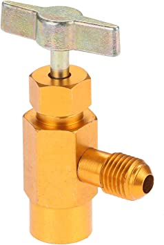 Aupoko R-134A AC Refrigerant Can Opener Tap Dispensing Valve 1//2 Acme Thread Brass R134A Recharge Hose//w Gauge