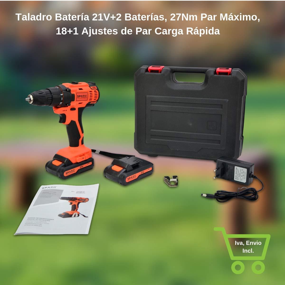 Taladro Batería 21V+2 Baterías, Taladro Atornillador 27Nm Par Máximo, Destornillador Eléctrico 18+1 Ajustes de Par Carga Rápida
