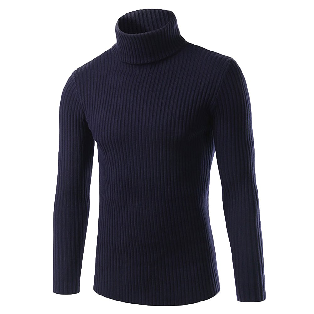 Verypoppa Mens Simple Solid Turtleneck Pullover Sweater Knitwear