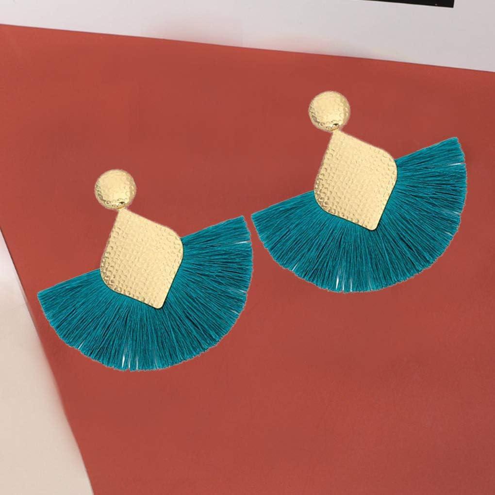 1 Paire Femmes Filles Style boh/ème Fan-Forme Tassel Boucles doreilles Fringe Boucle doreille de Vacances Accessoires