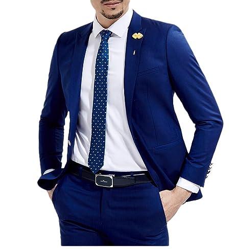 Slim Fit Royal Blue Wedding Suits 2 Pieces Men's Suits Groom Tuxedos Business Suit