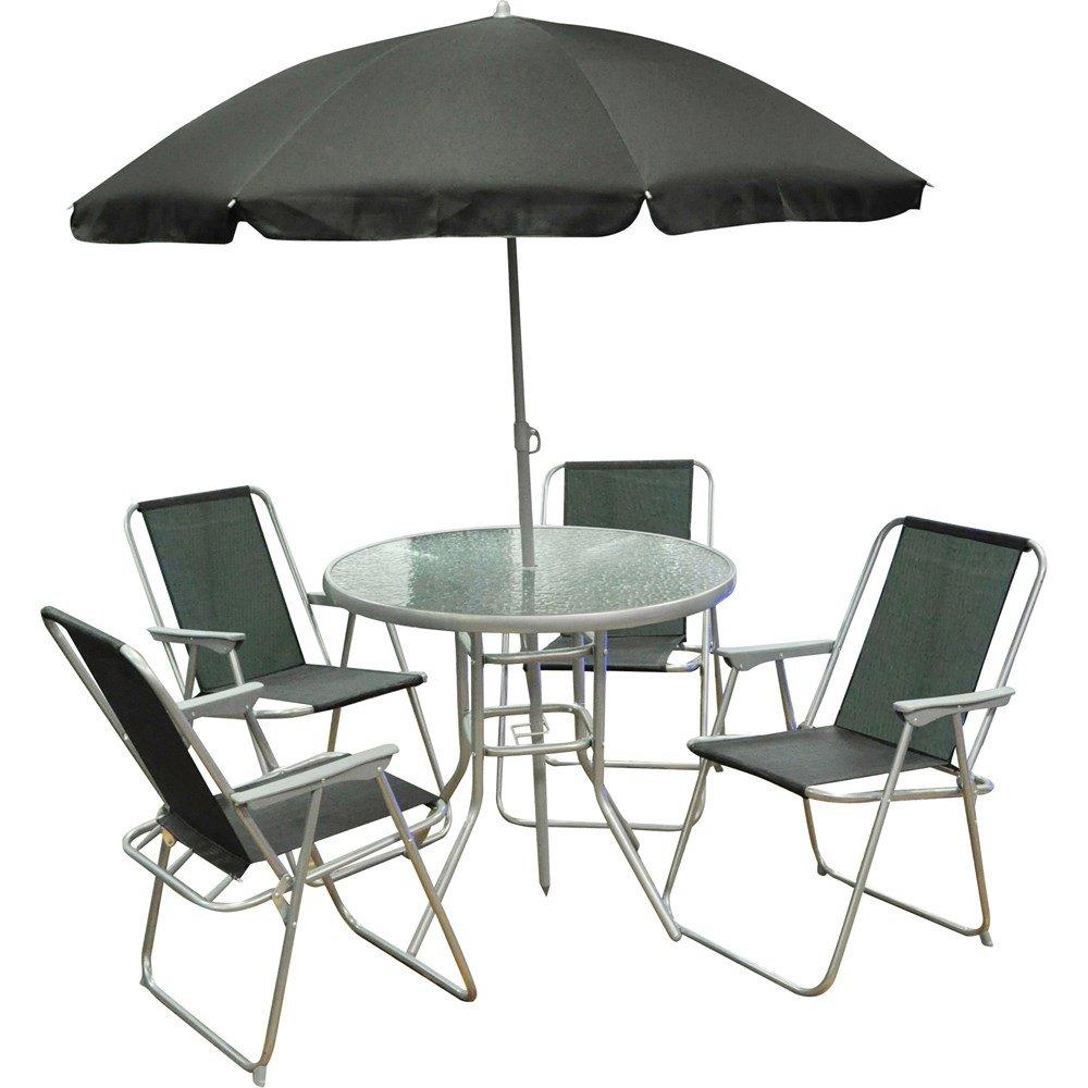 6 piece garden furniture patio set inc chairs table umbrella