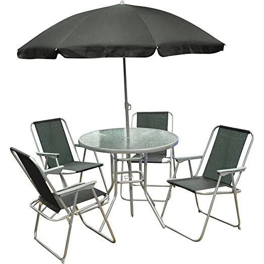 6 piece garden furniture patio set inc 4 x chairs table and parasol - Garden Furniture 6