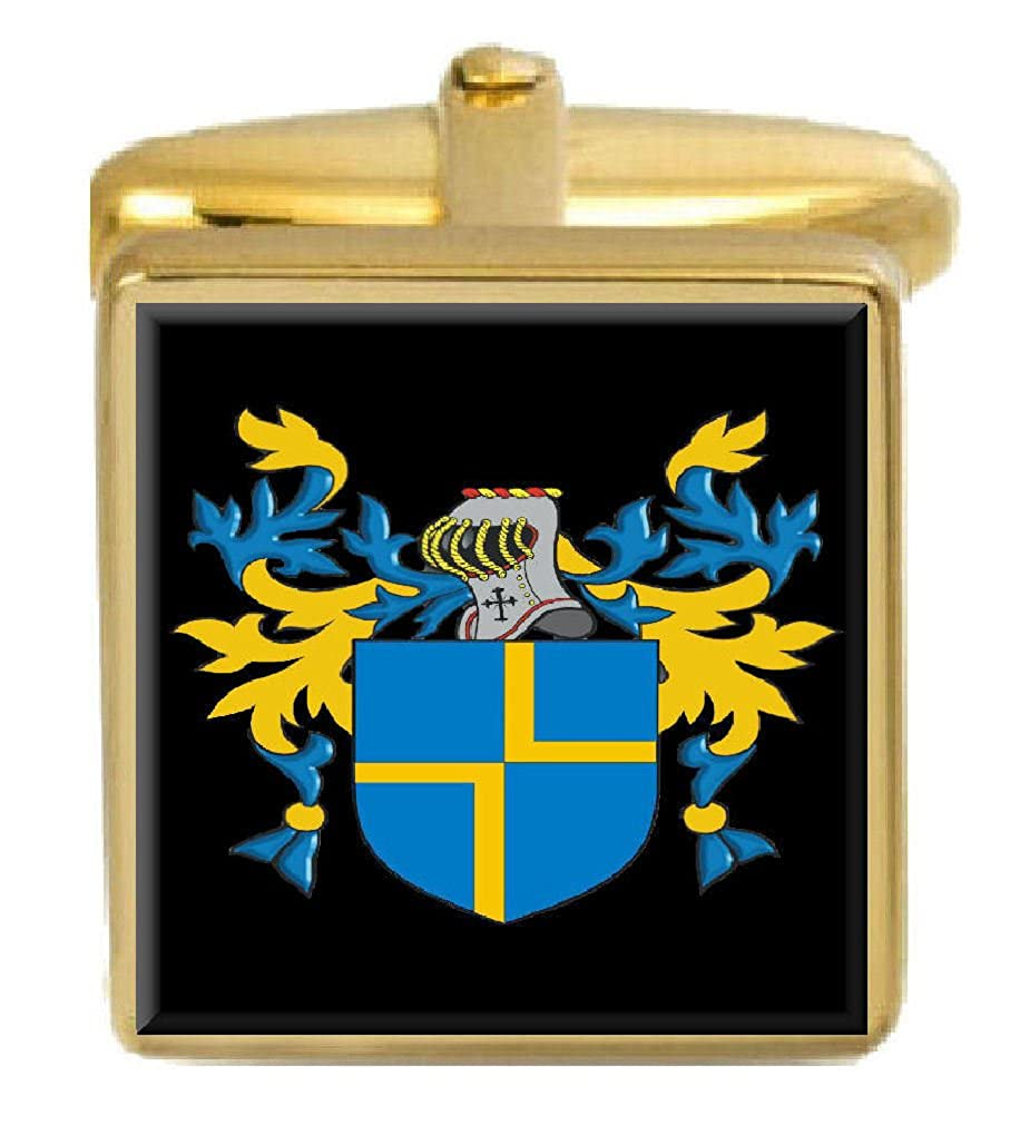 Select Gifts Tily England Family Crest Surname Coat Of Arms Gold Cufflinks Engraved Box