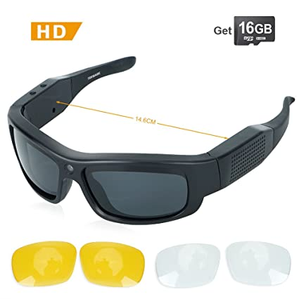 TEKMAGIC 16GB 1080P HD Gafas de Sol con Camara Grabadora Accion Lentes Videocamara Deportiva con Lentes