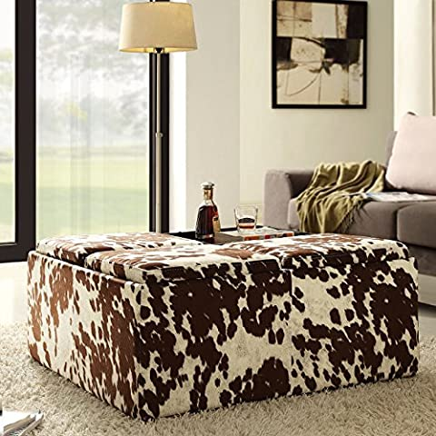 Home Creek Cowhide-Print Storage Cocktail Ottoman - Creek Cocktail